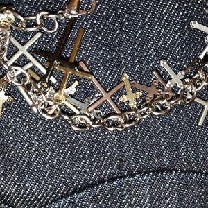 Brand new custom chrome ♥️ styled cross bracelet